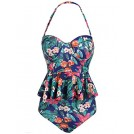 Qearal Swimsuit -  Women Sexy Strapless Two Piece Retro Bikini Push up Floral Peplum Padded Swimsuit