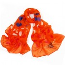 MaiKun Sciarpe -  Womens Long Cotton Scarf Soft Light Weight Orange with Big Polka Dots