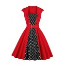 Rose in the box Dresses -  Women's Polka Dot Retro Vintage Style Cocktail Party Swing Dresses