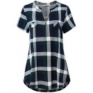 BBX Lephsnt Shirts -  Women's Zip V Neck Short Sleeve/Sleeveless Casual Blouse Tunic Shirt