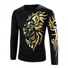 YANG-YI Long sleeves shirts -  YANG-YI Men Fashion Casual Printing Long-sleeved T-shirt O-Neck Top
