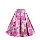 Yumdo Skirts -  YUMDO Pleated Vintage Swing Skater Skirts Floral Print A-line High Waist Midi for Women