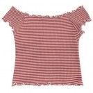 ZAFUL Top -  ZAFUL Women's Knitted Top Basic Off Shoulder Short Sleeve Crop Top Ruffles Striped Ribbed Top