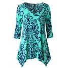 Zattcas Shirts -  Zattcas Womens Tunic Tops 3/4 Sleeve Criss Cross V Neck Loose Floral Tunic Shirt