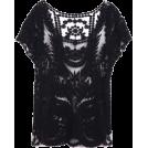 octobermaze  Košulje - kratke -  black lace top