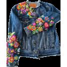 HalfMoonRun アウター -  embroidered denim jacket