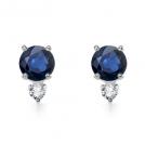 Angara Brincos -  Round Sapphire and Diamond Earrings in White Gold 14K