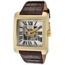 Rotary Watches -  Rotary Men's Editions Automatic Partially See Thru Silver Dial Gold Tone IP Case Brown Genuine Leather GLE00008-21
