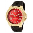 SWISS LEGEND Watches -  SWISS LEGEND Men's Super Shield Red Dial Gold Tone IP SS Case Black Silicone 40117-YG-05