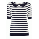 Oasis Cardigan -  Intarsia Collar Stripe Top