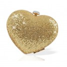 Celeb Boutique Clutch bags -  Love Heart' Mistress Rocks Gold Glitter Heart Clutch Bag