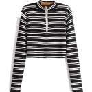 FECLOTHING Long sleeves t-shirts -  zipper short striped sweater