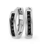 10KT White Gold Round Diamond Black Hoop Earring (1/10 cttw) - Earrings - $159.00