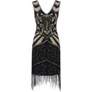 1920s Flapper Dress V Neck Vintage - Dresses - $33.99