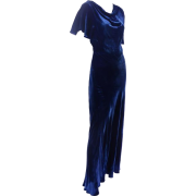 1930s velvet bias cut evening gown - ワンピース・ドレス -