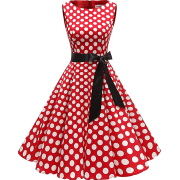 1950s Rockabilly Vintage Dresses for Women Retro Ladies Dresses Skater Dress Red - Dresses - £29.99