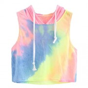2018 Women Fashion Sexy Tops Print Hooded Crop Sleeveless T-Shirt by Topunder - Shirts - $6.99