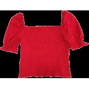 3 COLORS|Retro square neck elastic top - Shirts - $19.99