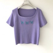3 butterfly embroidered crew neck knitted short-sleeved girl short-sleeved T-shi - 半袖衫/女式衬衫 - $19.99  ~ ¥133.94