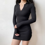 6 COLORS|V-neck knitted long-sleeved dre - Платья - $27.99  ~ 24.04€