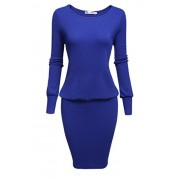 ACEVOG Casual Knit Sweater Dress Women's Crewneck Long Sleeve Bodycon Pencil Midi Dress Winter - Dresses - $29.99