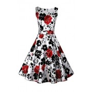 ACEVOG Cocktail Dress 1950's Floral Vintage Christmas Party Dress Plus Size - Dresses - $12.99