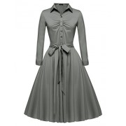 ACEVOG Women's 1950s Bow Belt Vintage Classical Casual Party Swing A-line Tea Picnic Shirt Dress - Dresses - $19.99