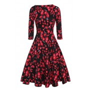 ACEVOG Women's 50s Hepburn Style Vintage Long Sleeve Floral Party Cocktail Evening Dress - Dresses - $18.99