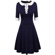 ACEVOG Women's Casual Half Sleeve Peter Pan Collar Doll Flare A Line Dress - Dresses - $39.99