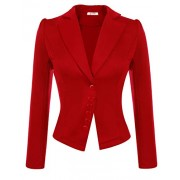 ACEVOG Women's Long Sleeve Solid Casual Work Office Slim One Button Short Blazer - Shirts - $19.39