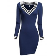ACEVOG Women's V-Neck Long Sleeve Basic Knit Sweater Bodycon Mini Dress - Dresses - $4.99