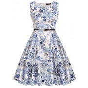 ACEVOG Women's Vintage 1950's Sleeveless Floral Spring Garden Party Picnic Dress - Dresses - $12.99