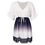 AMZ PLUS Gradient Lace V Neck Joint Sleeve Women's Mid-Long Dress White 3XL - Dresses - $18.99