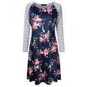 AMZ PLUS Plus Size Women Bracelet Sleeve Striped Floral Print Casual Mini Shift T-Shirt Dress - Dresses - $17.99