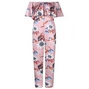 AMZ PLUS Sexy High Waist Plus Size Off Shoulder Floral Romper Jumpsuits for Women (4XL, Dark Pink) - Pants - $18.99