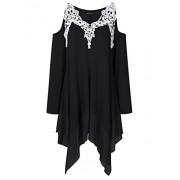 AMZ PLUS Women Crochet Lace Asymmetrical Cold Shoulder Plus Size Tunic Top - Shirts - $17.99