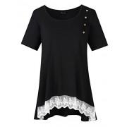 AMZ PLUS Women Plus Size Casual Short Sleeve Loose Lace Tops Tunic Blouses Black 4XL - Shirts - $18.99