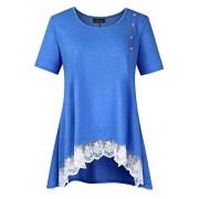 AMZ PLUS Women Plus Size Casual Short Sleeve Loose Lace Tops Tunic Blouses Blue 2XL - Shirts - $13.99