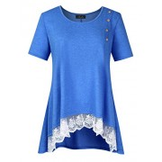 AMZ PLUS Women Plus Size Casual Short Sleeve Loose Lace Tops Tunic Blouses Blue XL - Shirts - $6.99