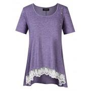 AMZ PLUS Women Plus Size Casual Short Sleeve Loose Lace Tops Tunic Blouses Lavender 3XL - Shirts - $18.99