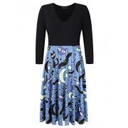 AMZ PLUS Women Plus Size Halloween Dress 3/4 Sleeve Swing Party Casual Dresses (L-5XL) - Dresses - $17.99