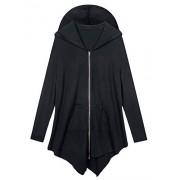 AMZ PLUS Women Plus Size Lightweight Full Zip Up Hooded Sweatshirt Hoodie Jacket Black 3XL - Outerwear - $25.59