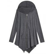 AMZ PLUS Women Plus Size Lightweight Full Zip Up Hooded Sweatshirt Hoodie Jacket Dark Grey 4XL - Shirts - $25.59