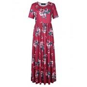 AMZ PLUS Women Short Sleeve Floral Bohemian Plus Size Beach Maxi Dress Dark Red 5XL - Dresses - $21.99