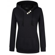 AMZ PLUS Women's Long Sleeve Button V-Neck Tunic Tops Pullover Hoodies - Shirts - $26.99