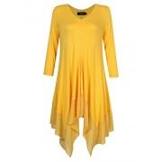AMZ PLUS Womens Plus Size Irregular Hem Short Sleeve Loose Shirt Dress Top - Shirts - $9.99
