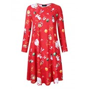 AMZ PLUS Womens Printed T-Shirt Dress Christmas Pullover Flared A line Swing Casual Dress Red-Christmas 3XL - Dresses - $10.99
