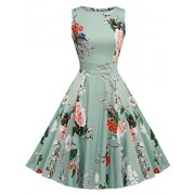 ARANEE Vintage Classy Floral Sleeveless Party Picnic Party Cocktail Dress - Dresses - $8.99