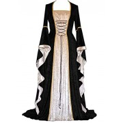 Abaowedding Women's Renaissance Medieval Costume Dress Lace up Irish Over Long Dresses Cosplay Retro Gown - Dresses - $4.01