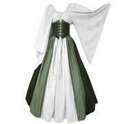 Abaowedding Women's Renaissance Medieval Costumes Dress Trumpet Sleeves Gothic Retro Gown - Dresses - $4.01